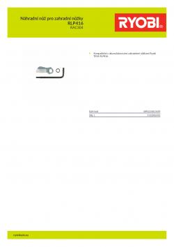 RYOBI RAC304 Náhradní nůž pro zahradní nůžky RLP416 5132002455 A4 PDF