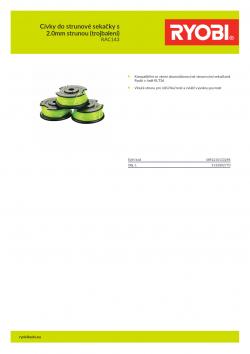 RYOBI RAC143 Cívky do strunové sekačky s 2.0mm strunou (trojbalení) 5132002770 A4 PDF