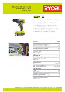 RYOBI R18DD2 18V Akumulátorový vrtací šroubovák (1x2.0Ah) 5133004419 A4 PDF