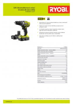 RYOBI R18DD3 18V Akumulátorový vrtací šroubovák (2x1.3Ah) 5133003882 A4 PDF