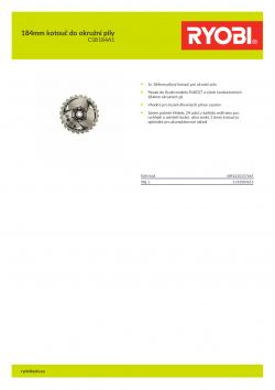 RYOBI CSB184A1 184mm kotouč do okružní pily 5132003615 A4 PDF