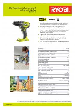 RYOBI R18PD5 18V Bezuhlíková akumulátorová příklepová vrtačka 5133003595 A4 PDF