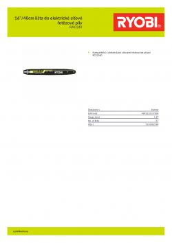 """RYOBI RAC249 16""""/40cm lišta do elektrické síťové řetězové pily 5132002784 A4 PDF"""