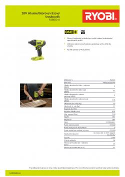 RYOBI R18ID2 18V Akumulátorový rázový šroubovák 5133004611 A4 PDF
