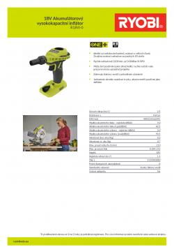 RYOBI R18VI 18V Akumulátorový vysokokapacitní inflátor 5133003880 A4 PDF