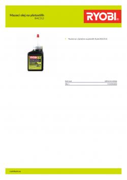 RYOBI RAC312 Mazací olej na plotostřih 5132002865 A4 PDF