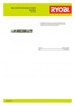 RYOBI RAC400 46cm nůž do benzínové trávní sekačky 5132002275 A4 PDF