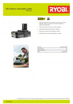 RYOBI RB18L20 18V Lithium+ akumulátor 2.0Ah 5133002737 A4 PDF
