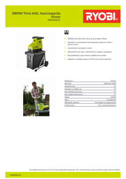 RYOBI RSH3045U 3000W Tichý drtič, řezná kapacita 45mm 5133004335 A4 PDF