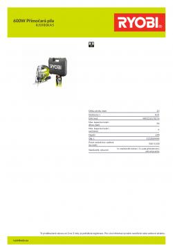 RYOBI RJS980 600W Přímočará pila 5133004444 A4 PDF