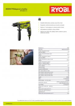 RYOBI RPD800 800W Příklepová vrtačka 5133002018 A4 PDF