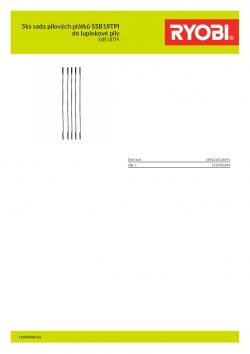 RYOBI SSB18TPI 5ks sada pilových plátků SSB18TPI do lupínkové pily 5132002898 A4 PDF