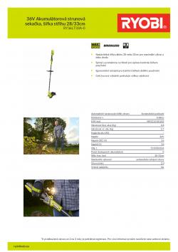 RYOBI RY36LT33A 36V Akumulátorová strunová sekačka, šířka střihu 28/33cm 5133004544 A4 PDF