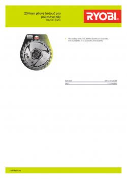 RYOBI SB254T24A1 254mm pilový kotouč pro pokosové pily 5132002621 A4 PDF