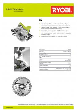 RYOBI RCS1600 1600W Okružní pila 5133002780 A4 PDF
