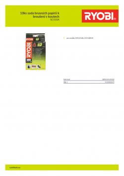 RYOBI SCS10A 10ks sada brusných papírů k broušení v koutech 5132002675 A4 PDF