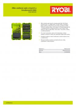 RYOBI RAK38SDD 38ks smíšená sada vrtacích a šroubovacích bitů 5132003303 A4 PDF