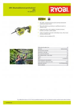 RYOBI RY18PSA 18V Akumulátorová prořezávací pila 5133004594 A4 PDF