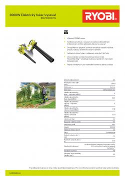 RYOBI RBV3000CSV 3000W Elektrický fukar/vysavač 5133002188 A4 PDF