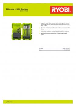 RYOBI RAK12SWD 12ks sada vrtáků do dřeva 5132003302 A4 PDF