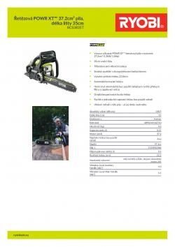 RYOBI RCS3835T Řetězová POWR XT™ 37.2cm³ pila, délka lišty 35cm 5133002386 A4 PDF
