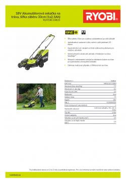 RYOBI RLM1833B 18V Akumulátorová sekačka na trávu, šířka záběru 33cm (1x2.5Ah) 5133004323 A4 PDF