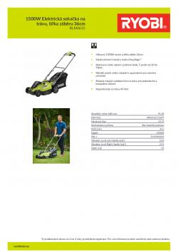 RYOBI RLM3615 1500W Elektrická sekačka na trávu, šířka záběru 36cm 5133004342 A4 PDF