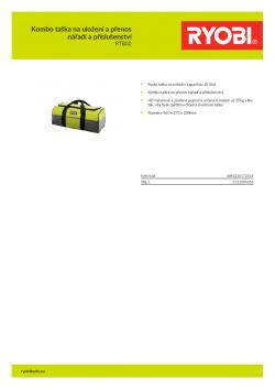 RYOBI RTB02 Kombo taška na uložení a přenos nářadí a příslušenství 5132004356 A4 PDF