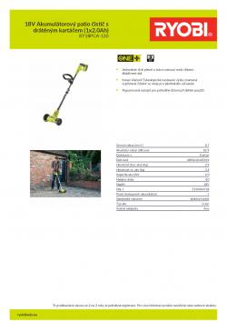 RYOBI RY18PCA 18V Akumulátorový patio čistič s drátěným kartáčem (1x2.0Ah) 5133004728 A4 PDF