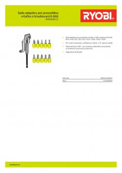 RYOBI RAKRAD11 Sada adaptéru pro pravoúhlou vrtačku a šroubovacích bitů 5132004834 A4 PDF