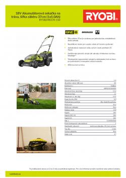 RYOBI RY18LMX37A 18V Akumulátorová sekačka na trávu, šířka záběru 37cm (1x5.0Ah) 5133004582 A4 PDF