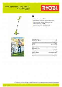 RYOBI RLT3525 350W Elektrická strunová sekačka, šířka záběru 25cm 5133002789 A4 PDF
