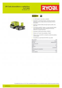 RYOBI RC18120-115 18V Sada akumulátoru s nabíječkou (1x1.5Ah) 5133003357 A4 PDF