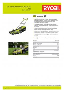 RYOBI RLM36X46L5 36 V sekačka na trávu, záběr: 46 cm 5133002171 A4 PDF