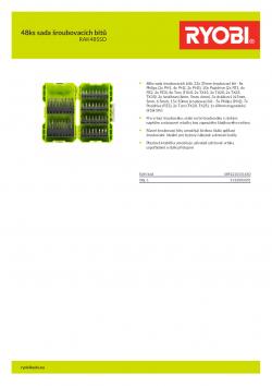RYOBI RAK48SSD 48ks sada šroubovacích bitů 5132003301 A4 PDF