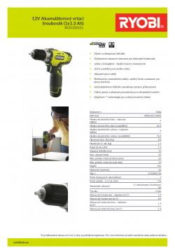 RYOBI RCD1201 12V Akumulátorový vrtací šroubovák (1x1.3 Ah) 5133001156 A4 PDF