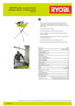 RYOBI WS721 500W Řezačka na mokré řezání obkladů a dlažeb, 178mm kotouč 5133002020 A4 PDF