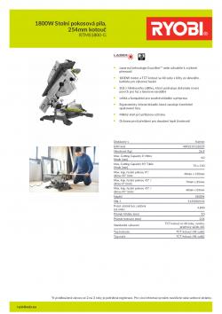 RYOBI RTMS1800 1800W Stolní pokosová pila, 254mm kotouč 5133002152 A4 PDF