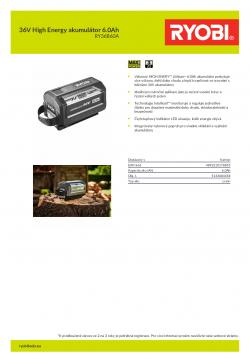 RYOBI RY36B60A 36V High Energy akumulátor 6.0Ah 5133004458 A4 PDF