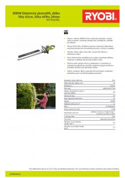 RYOBI RHT8165RL 800W Elektrický plotostřih, délka lišty 65cm, šířka střihu 34mm 5133003649 A4 PDF