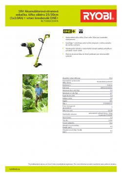 RYOBI RLT1832 18V Akumulátorová strunová sekačka, šířka záběru 25/30cm (1x2.0Ah) + vrtací šroubovák ONE+ 5133003727 A4 PDF