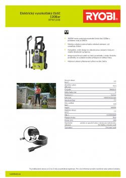 RYOBI RPW120B Elektrický vysokotlaký čistič 120Bar 5133004600 A4 PDF