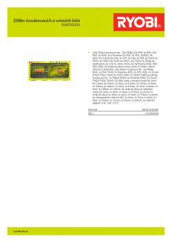 RYOBI RAKDD200 200ks šroubovacích a vrtacích bitů 5132004668 A4 PDF
