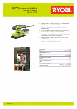 RYOBI RSS200 200W Bruska na třetinu listu brusného papíru 5133003678 A4 PDF