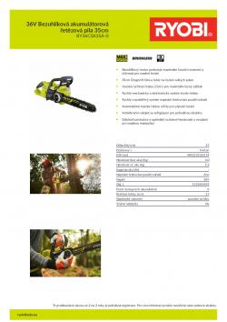 RYOBI RY36CSX35A 36V Bezuhlíková akumulátorová řetězová pila 35cm 5133004595 A4 PDF