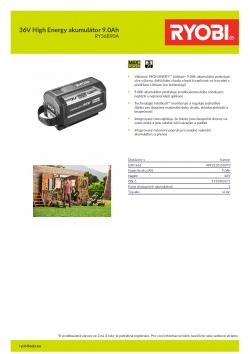 RYOBI RY36B90A 36V High Energy akumulátor 9.0Ah 5133003271 A4 PDF
