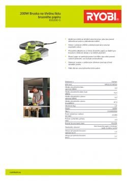 RYOBI RSS200 200W Bruska na třetinu listu brusného papíru 5133003500 A4 PDF