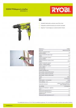 RYOBI RPD500 500W Příklepová vrtačka 5133001832 A4 PDF