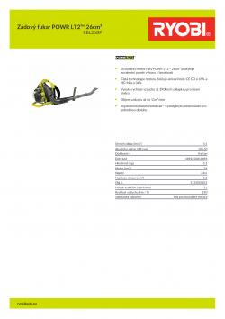 RYOBI RBL26BP Zádový fukar POWR LT2™ 26cm³ 5133001815 A4 PDF