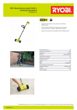 RYOBI RY18PCA 18V Akumutárový patio čistič s drátěným kartáčem 5133004727 A4 PDF